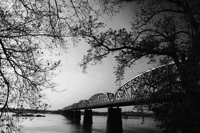 Black and Gray Scale Photo of Bridge stock photos