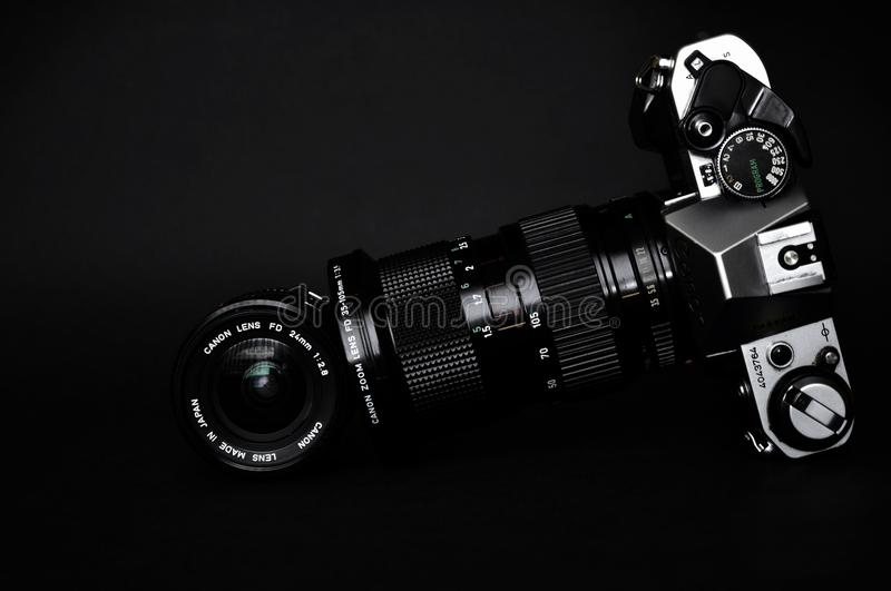 Black and Gray Slr Camera stock photo