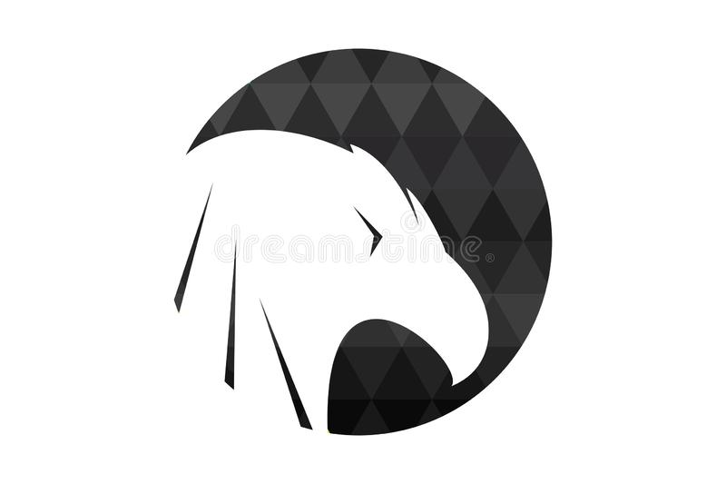 Silhouette of a bird head in the polygonal circle. stock illustration