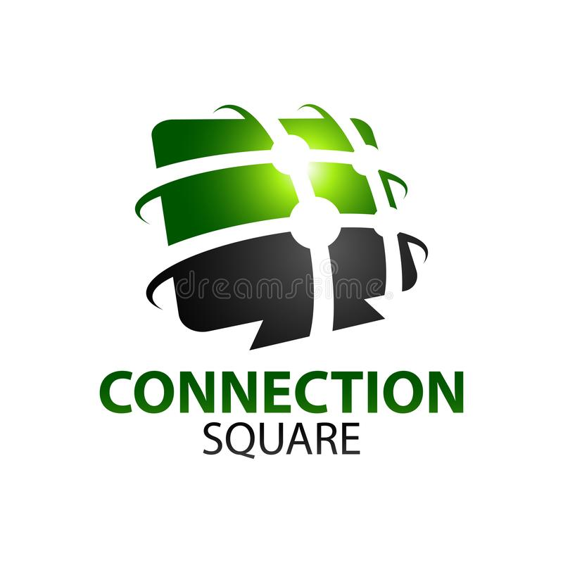 Black green abstract connection square logo concept design template. Idea vector illustration