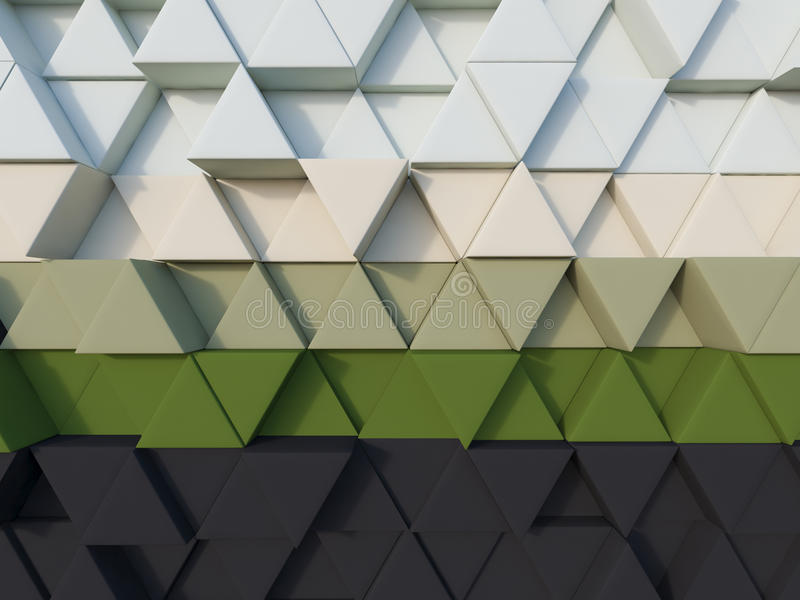 Black green abstract 3d triangle background render stock illustration