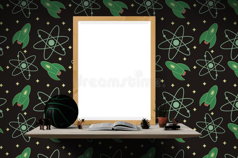Black and Green Ball on Brown Wooden Table stock photo