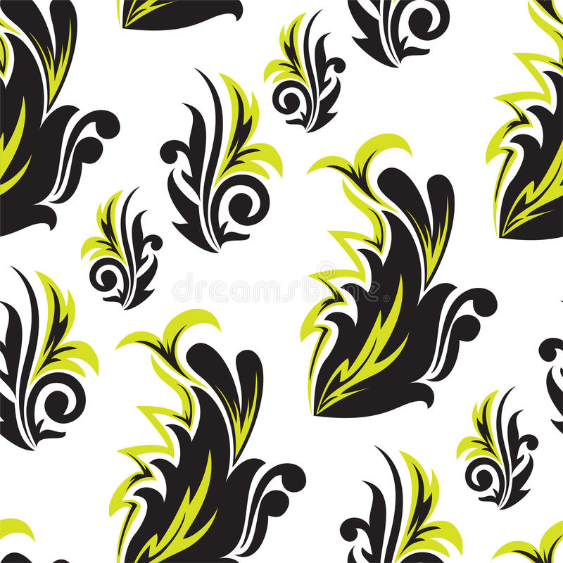 Download Black-and-green Floral Seamless Stock Vector - Illustration: 18256211