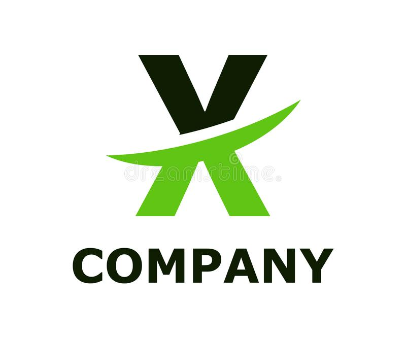Slice alphabet logo x. Black and green lime color logo symbol slice type letter x by blade initial business logo design idea illustration shape for modern royalty free illustration