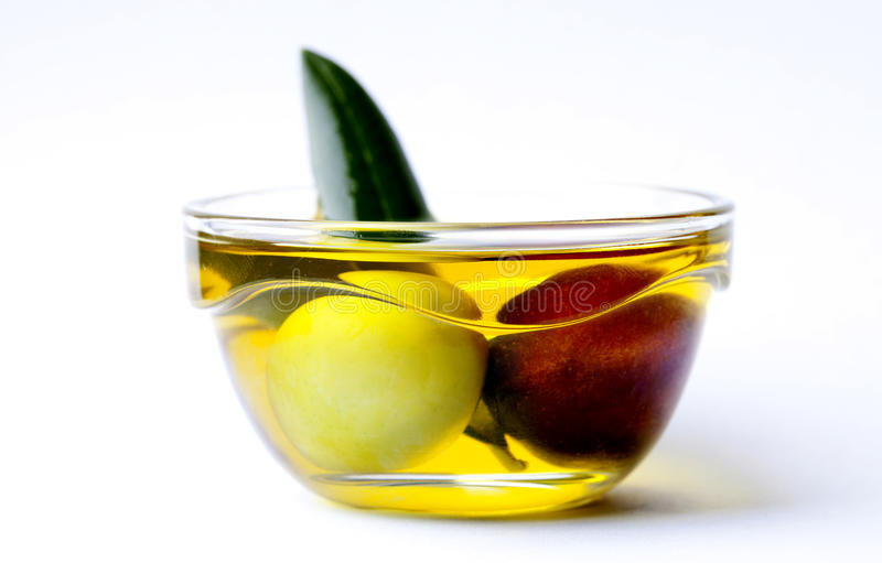 Black And Green Olive. In a bowl royalty free stock photography