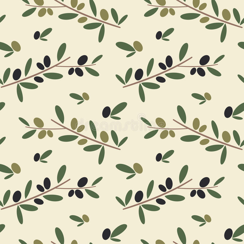 Black and green olive branch seamless pattern background illustration. Black and green olive branch seamless vector pattern background illustration royalty free illustration