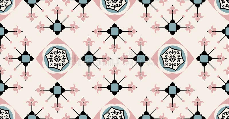 Black green pink cream geometric seamless pattern in African style with square,tribal,circle shape royalty free illustration