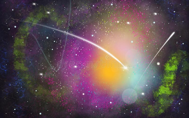 Black, green, purple space illustration background with a bright white comet. Black, green, purple and yellow space illustration background with a shining bright stock illustration