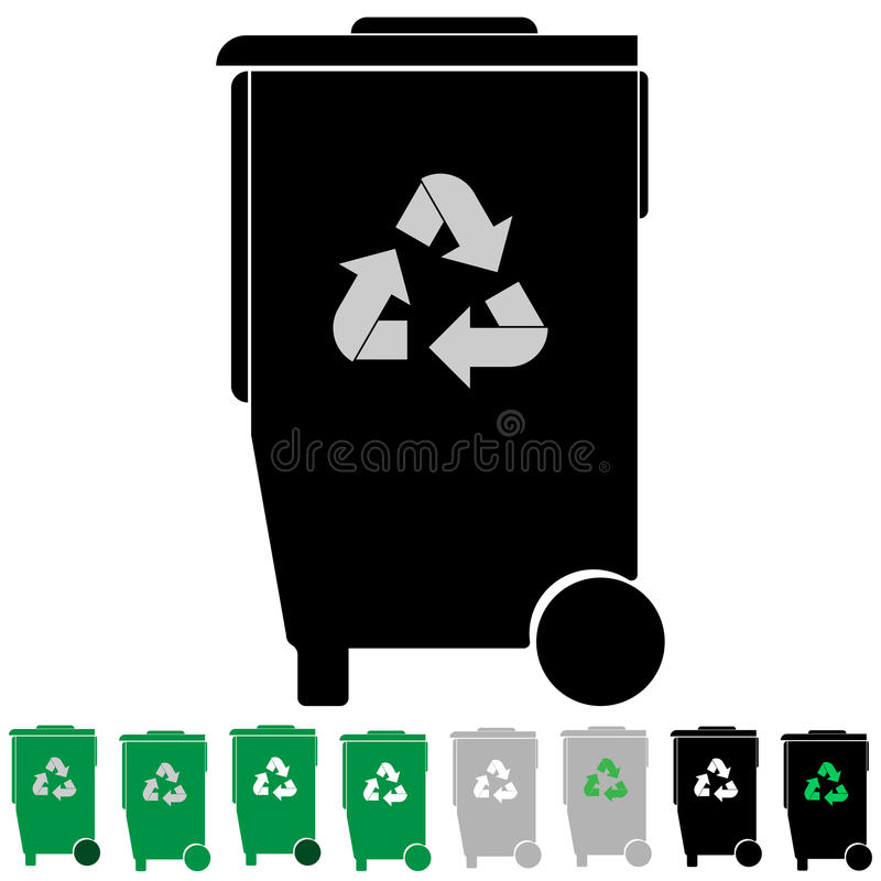Black and green refuse bin or debris utilization. Black and green refuse bin or debris utilization it is set icons stock illustration
