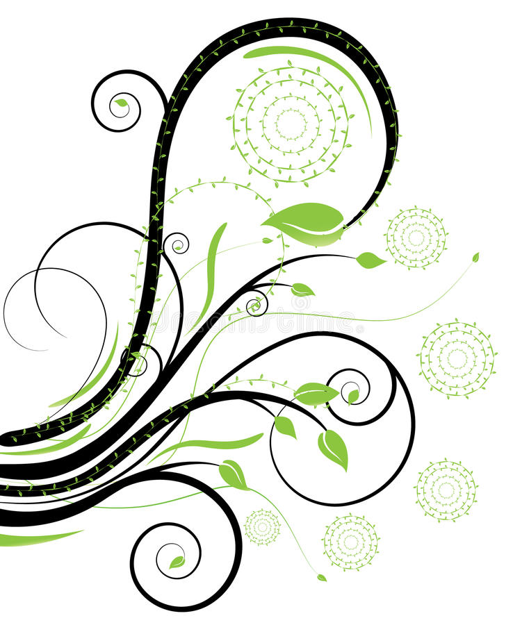 Black and green swirls stock illustration