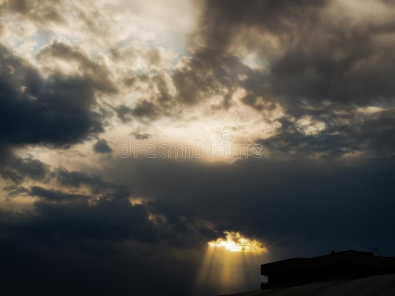 BlAck and grey clouds in summer storm. White, sky, blue, dark, afternoon, dramatic, atmosphere, rain, outdoor, infinity, univers, space royalty free stock photo