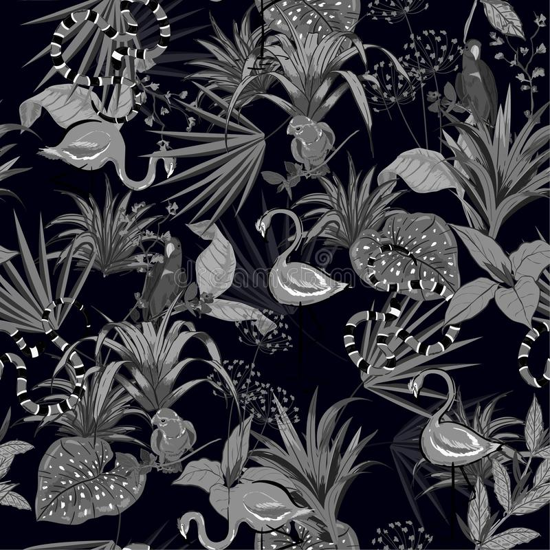 Black and grey Tropical flowers, palm leaves, jungle plants, birds, pink flamingos,snake, seamless vector floral pattern vector illustration