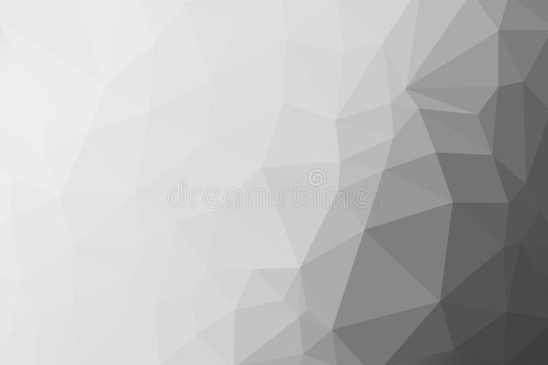 Black, grey and white gradient triangle background, abstract polygon pattern stock illustration