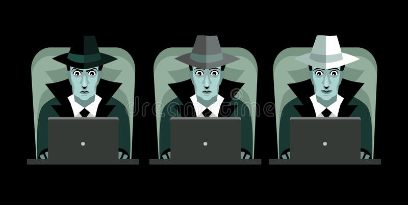 Black grey and white hackers with computers stock illustration