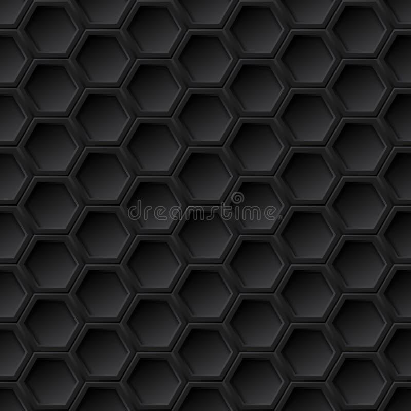 Black grid seamless pattern. Black 3d grid seamless pattern, vector background stock illustration