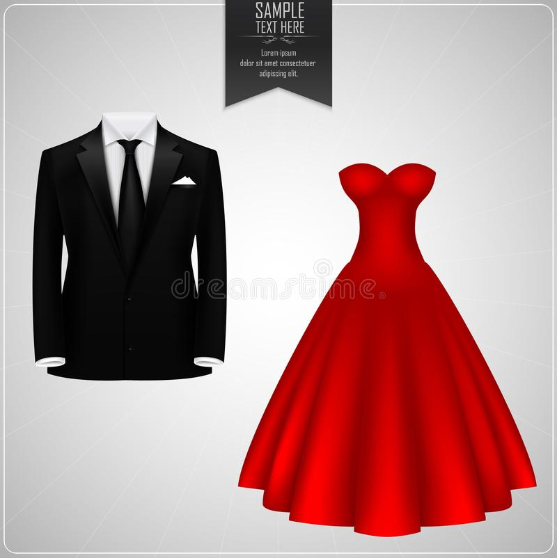 Black Groom Suits And Red Bridal Gown Stock Vector - Illustration ...