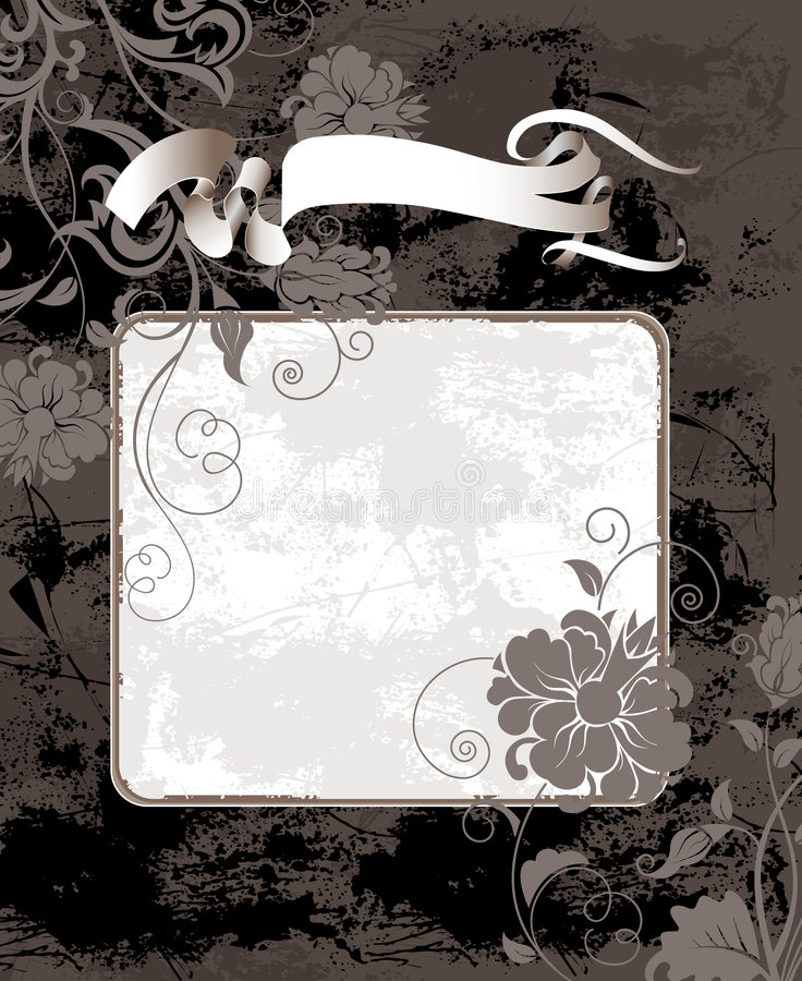 Black grunge background with flowers royalty free stock photos