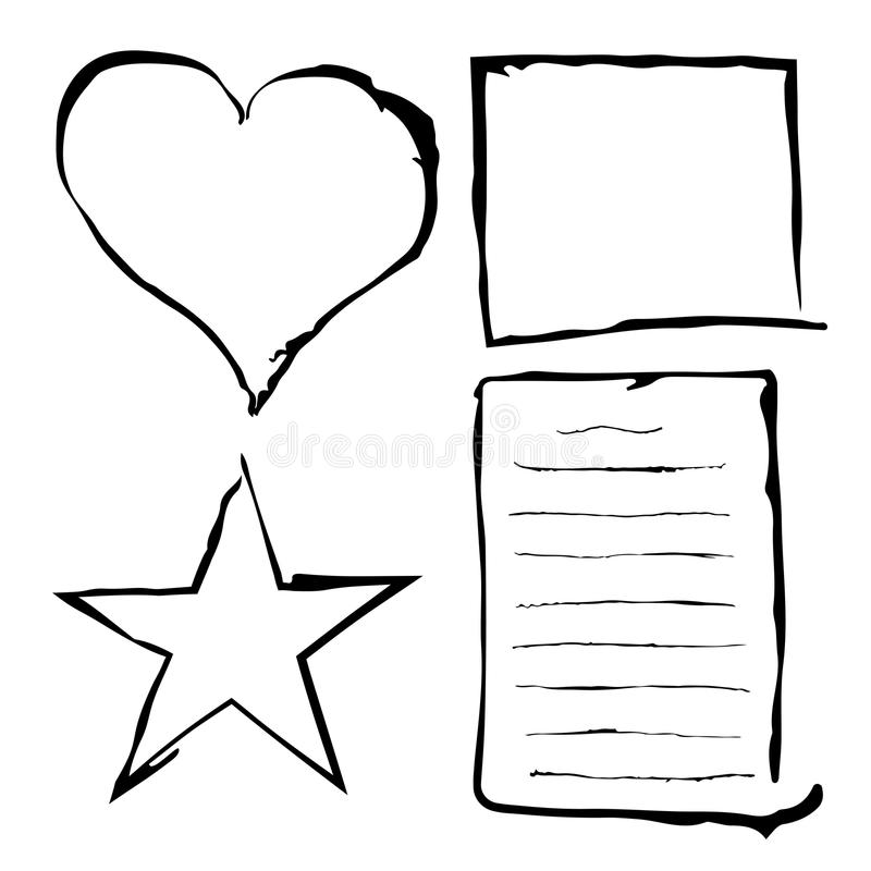 Black grunge frames, rough border, abstract paper sheet, lines, heart and star. stock illustration