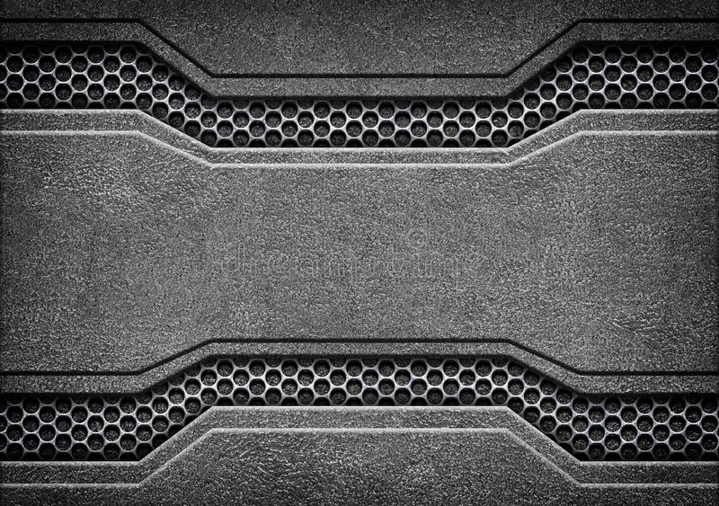Black grunge metal plate or armour texture, 3d, illustration. Grunge metal background with shiny metal plate, 3d, illustration royalty free stock image