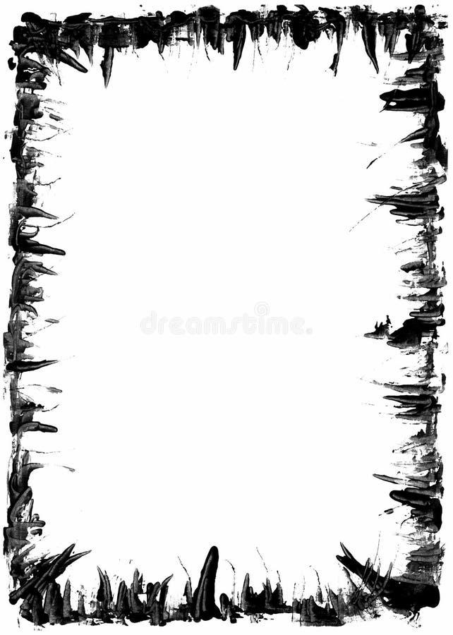 Black grunge rectangular frame on white background - graphic element royalty free illustration