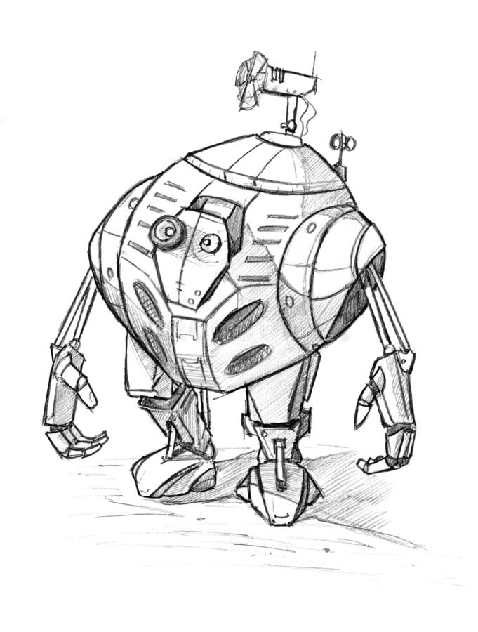 Black Grunge Rough Pencil Sketch of Cute Funny Robot. Black and white rough pencil sketch of cute funny robot character royalty free illustration