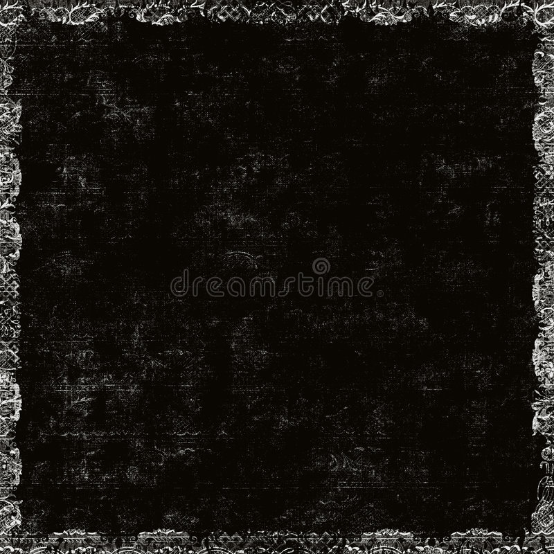 Black Grungy Floral Border stock images