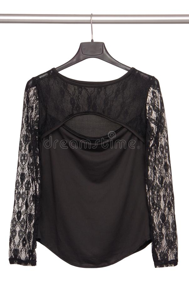 Black guipure blouse, isolated blouse on white background, royalty free stock photo