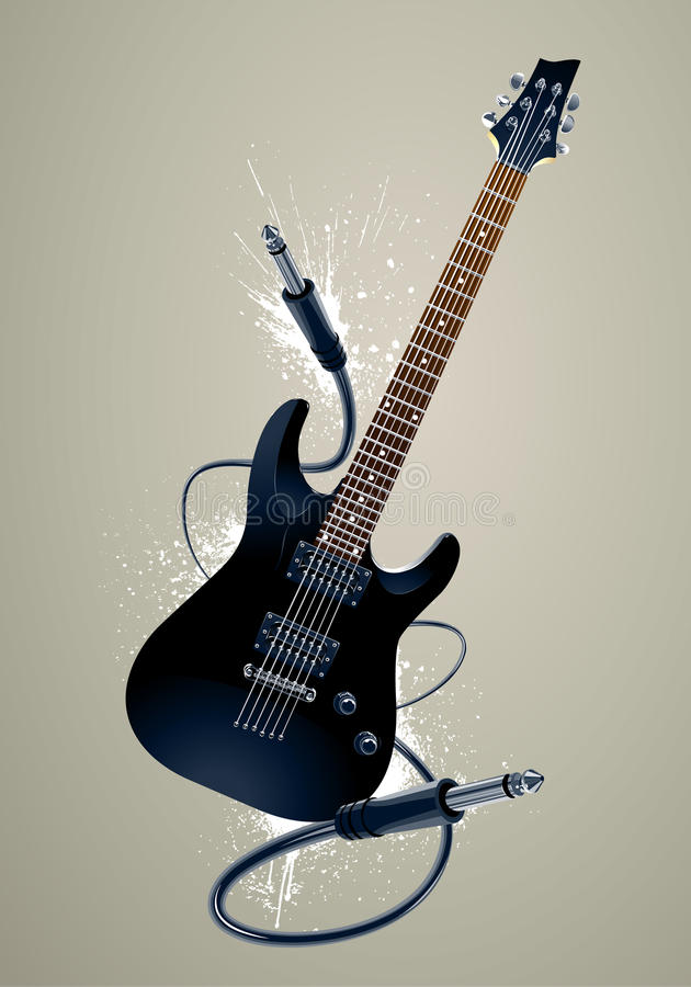 Black guitar with cables vector illustration