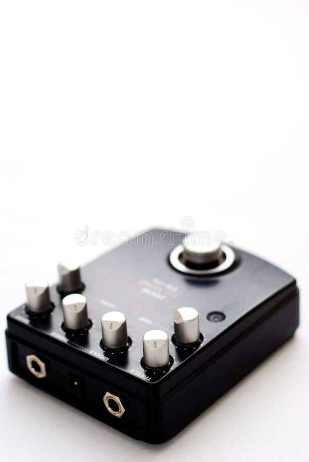 Black guitar effect pedal royalty free stock images