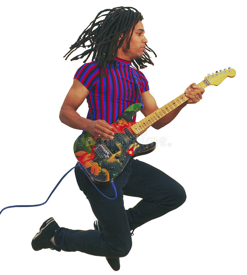Free Black Guitar Player In Midair Stock Photography - 5926432