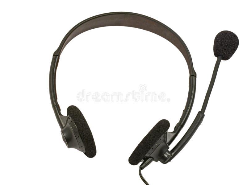 black hörlurar med mikrofon royaltyfri bild