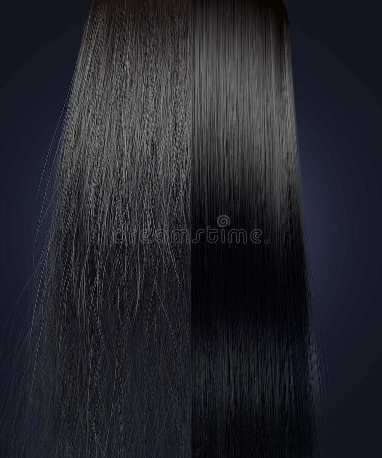 Free Black Hair Frizzy And Straight Comparison Stock Image - 45852031
