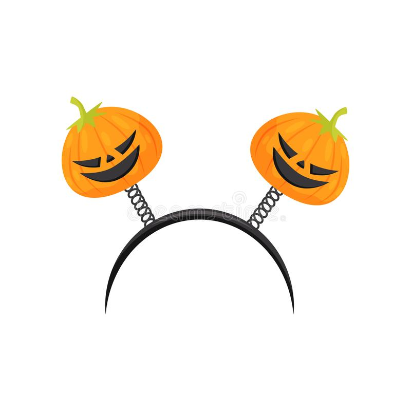 Black hair hoop with Halloween pumpkins on spiral springs. Festive accessory. Flat vector design royalty free illustration