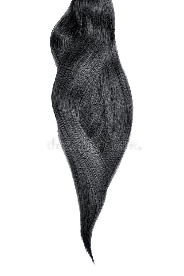 Black hair, isolated on white background. Long beautiful ponytail. Natural healthy hair isolated on white background. Detailed clipart for your collages and stock photo