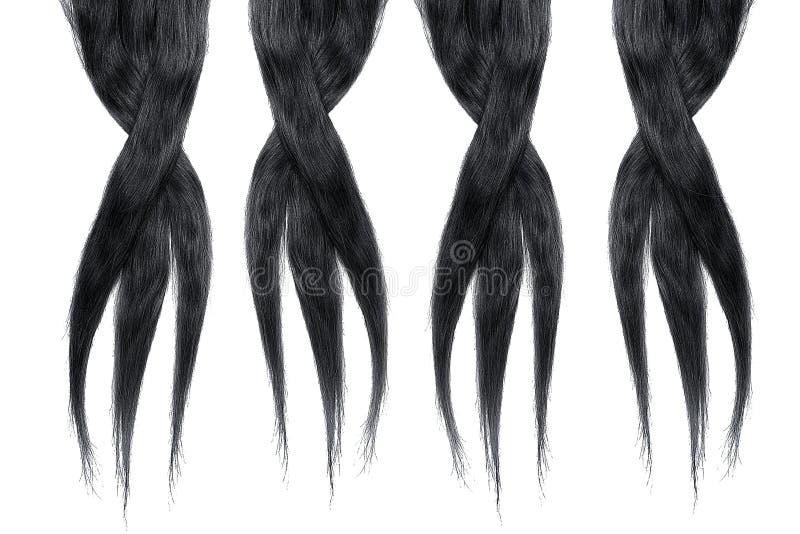 Black hair isolated on white background. Long disheveled ponytail royalty free stock images
