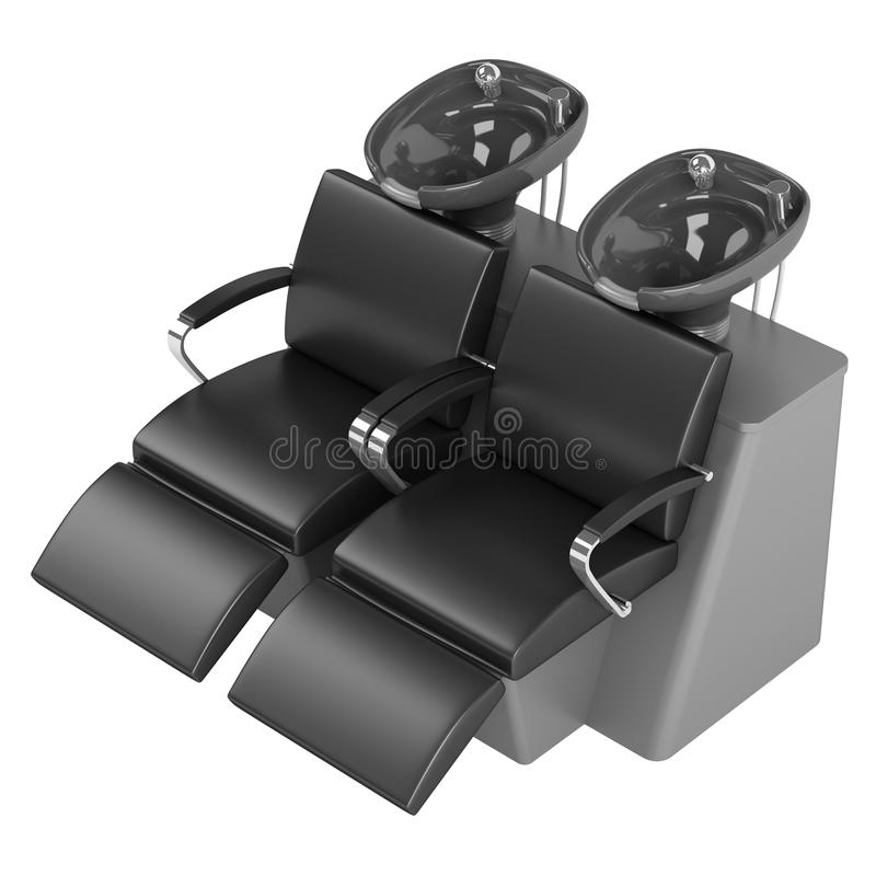 Black Hair Wash Double Seat Chair Stock Image