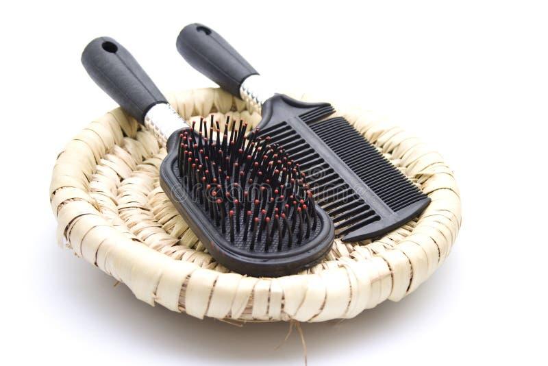 Black hairbrush stock image