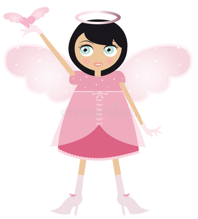 Black Haired Fairy Woman In A Pink Dress vector illustration