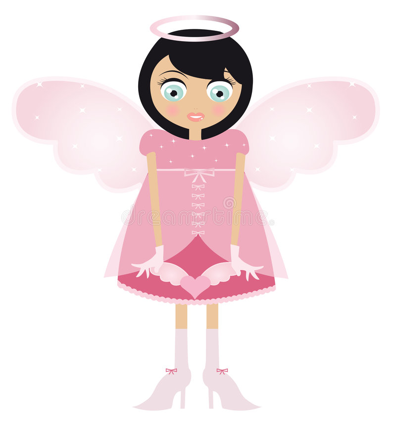 Black Haired Fairy Woman In A Pink Dress royalty free illustration