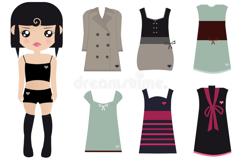 Black Haired Female Paper Doll stock illustration