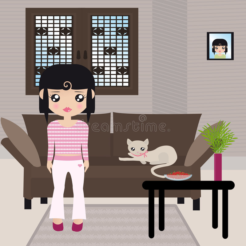 Black haired girl standing with her kitty stock illustration