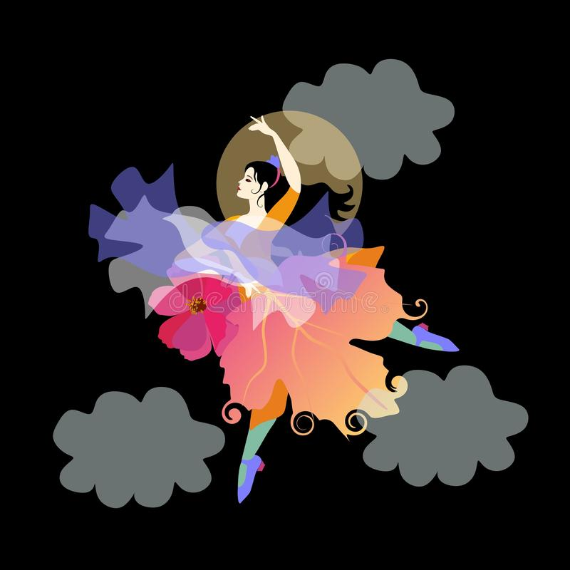 Black-haired girl wearing skirt that looks like an autumn leaf, with fan in the form of flower and shawl in the shape of bird. Black-haired girl wearing skirt royalty free illustration