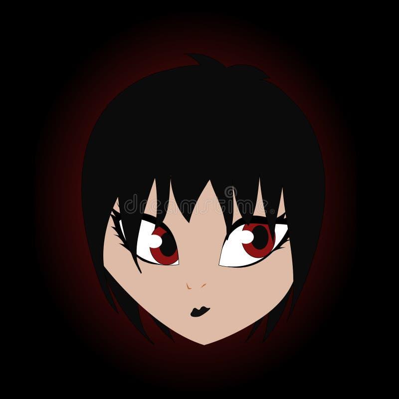 Black haired pretty teenage girl cartoon vampire vector art stock illustration