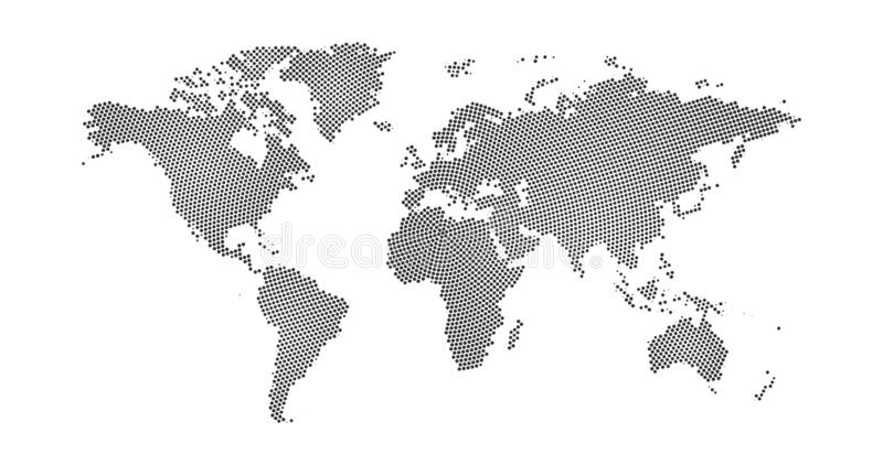 Black halftone circle dotted world map. Vector illustration. Dotted map in flat design. Vector illustration isolated on white. Black halftone circle dotted world royalty free illustration
