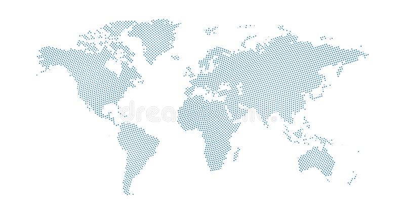 Black halftone circled dotted blue world map. Vector illustration. Dotted map in flat design. Vector illustration isolated on. Black halftone circled dotted blue vector illustration