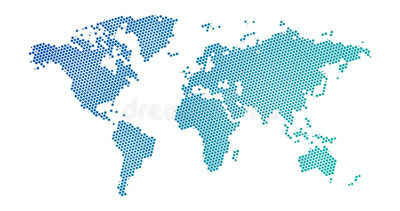 Black halftone dotted blue gradient world map. Vector illustration. Dotted map in flat design. Vector illustration isolated on. Black halftone dotted blue vector illustration