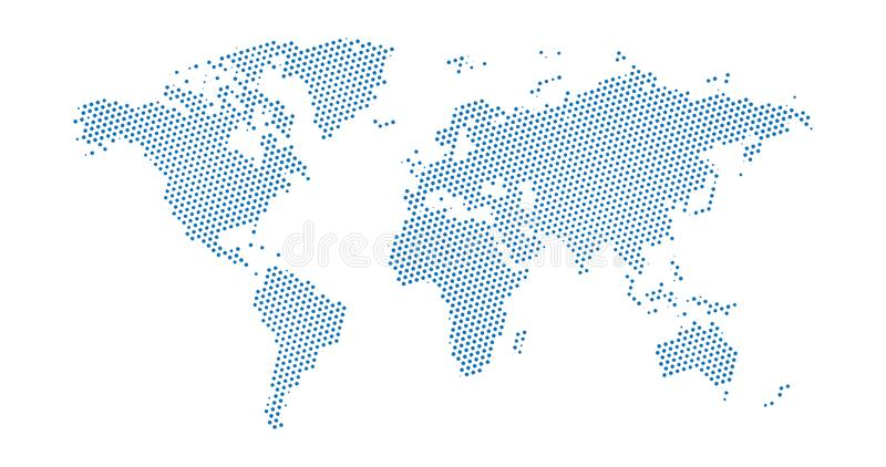 Black halftone dotted blue world map. Vector illustration. Dotted map in flat design. Vector illustration isolated on white. Black halftone dotted blue world map stock illustration