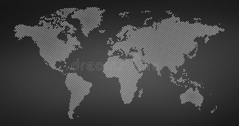 Black halftone dotted world map. Vector illustration. Dotted map in flat design. Vector illustration isolated on black background. Black halftone dotted world stock illustration