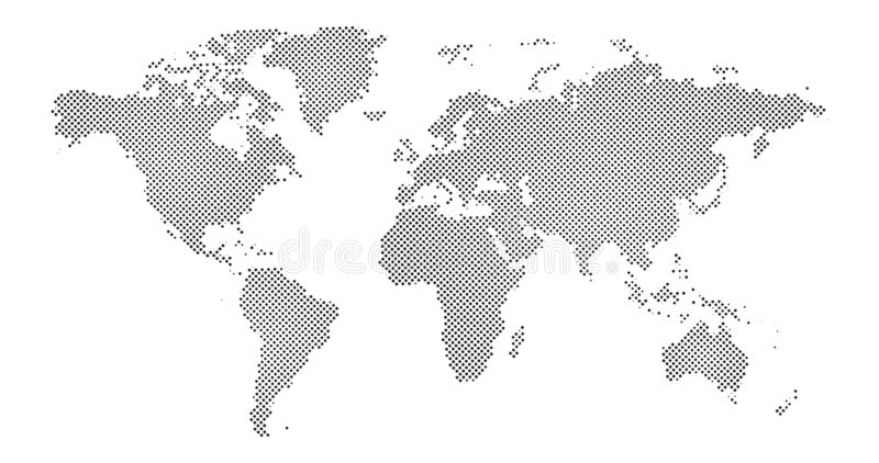 Black halftone dotted world map. Vector illustration. Dotted map in flat design. Vector illustration isolated on white background vector illustration
