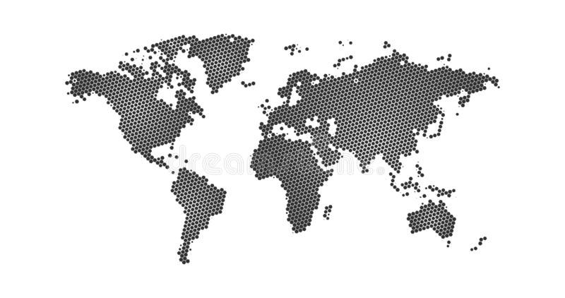 Black halftone hexagon dotted world map. Vector illustration. Dotted map in flat design. Vector illustration isolated on white. Black halftone hexagon dotted stock illustration
